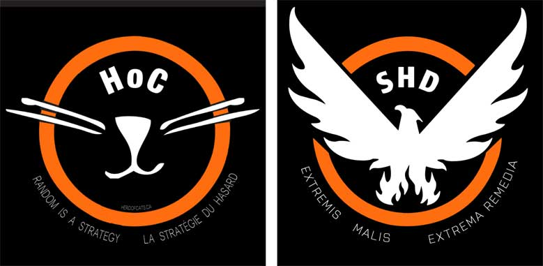 Our HoC crest up against the original SHD crest from The Division