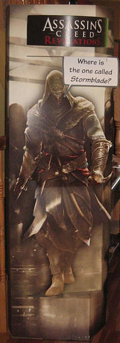 Even a cardboard Ezio couldn't assure the assassination of Stormblade