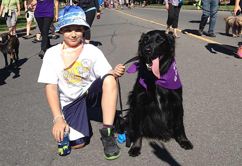 Rolly ran into Milo, the Wiggle Waggle Walkathon's Official Spokes Dog during the event