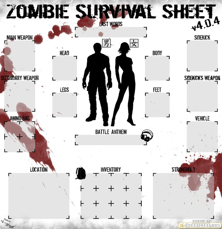 zombie survival check sheets herd of cats. Black Bedroom Furniture Sets. Home Design Ideas